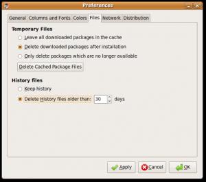 Preferences - Files tab settings