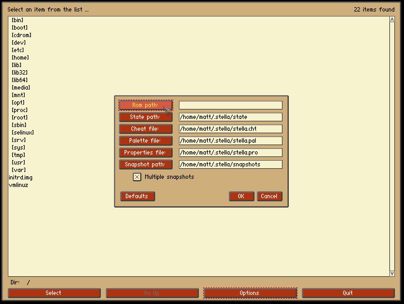Rom path: button