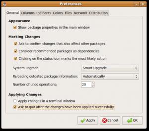 Preferences - General tab settings